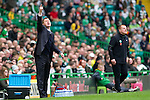 Celtic v St Johnstone....01.04.12   SPL.Steve Lomas shouts instructions as Neil Lennon looks on.Picture by Graeme Hart..Copyright Perthshire Picture Agency.Tel: 01738 623350  Mobile: 07990 594431