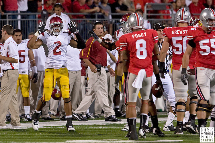 12 September 2009:  Football -- USC safety Taylor Mays taunts Ohio State wide receiver DeVier Posey after a tackle during their game at Ohio Stadium in Columbus.  USC won 18-15.  Photo by Christopher McGuire.