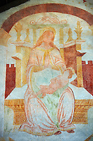 Religious murals of Madonna with Child attributed to Antonio Baschenis (C. 1474 -1493) on the exterior of the Gothic Church of San Antonio Abate,  Pelugo, Province of Trento, Italy