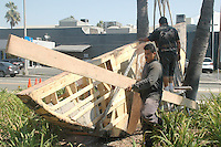 "Restoration Crew from Shoshana Wayne Gallery restores Mauro StaccioliÕs public art sculpture entitled, ""Untitled Homage to Jack Kerouac"" (1993) on Tuesday, September 13, 2011.."