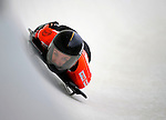 14 December 2007: Mellisa Hollingsworth, racing for Canada, exits the last turn and heads for the finish line during her first run of the FIBT World Cup Skeleton Competition at the Olympic Sports Complex on Mount Van Hoevenberg, at Lake Placid, New York, USA. ..Mandatory Photo Credit: Ed Wolfstein Photo