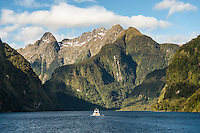 Mountain views with boat and Mt. Danae 1495m in top centre, from Hall  Arm in Doubtful Sound, Fiordland National Park, UNESCO World Heritage Area, Southland, New Zealand, NZ