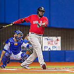 1 April 2016: Boston Red Sox designated hitter David Ortiz in action during a pre-season exhibition series between the Toronto Blue Jays and the Boston Red Sox at Olympic Stadium in Montreal, Quebec, Canada. The Red Sox defeated the Blue Jays 4-2 in the first of two MLB weekend games, which saw an attendance of 52,682 at the former home on the Montreal Expos. Mandatory Credit: Ed Wolfstein Photo *** RAW (NEF) Image File Available ***
