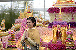 a model poses in front of the Thailand land of Buddhism display at at Chelsea flower Show. <br /> <br /> 18.5.15<br /> Bethany Clarke / RHS