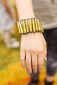 Spent ammunition bracelet, backstage at Redress Raleigh, 5th Annual Eco-Fashion Show, Saturday, March 23, 2013.
