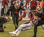 San Francisco 49ers kicker Phil Dawson (4) makes second attempt at extra point kick after penalty on Thursday, October 06, 2016 at Levis Stadium in Santa Clara, California. The Cardinals defeated the 49ers 33-21.