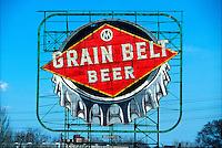 An historical sign advertising Grain Belt Beer.