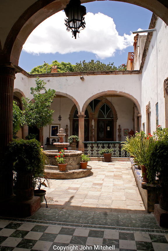 Interior courtyard of a Spanish colonial house in San Miguel de Allende, Mexico