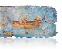 Roman Fresco with a boat decorated for a festival and marine life from the second quarter of the first century AD. (mosaico fauna marina da porto fluviale di san paolo), museo nazionale romano ( National Roman Museum), Rome, Italy. inv. 121462 .   Against a white background.<br /> The frescoes depict boats decorated as boats which went along the Tiber on festival days; their shape appears to be the caudicariae boats, used to transport merchandise. In the fresco fragment exhibited here (Ambiente E) the boat on the left depicts probably the group of 'side Serapide and Demetra on the stern, whereas the one on the right presents a crowned character on the bow and, on the stern, a feminine figure fluctuating in the air. Between the two boats, a young boy (a cupid or Palaimon-Portunus) rides a dolphin. All around are depicted several fish incredibly casting their shadows on the sea. The ichthyic fauna, lifeless as in still life decoration, is detailed as in a scientific catalogue. For the most part the represented species live next to the coast or were bred by the Romans in the piscinae salsac or in ponds. It is possible to recognize the rock mullet (mullus sunnuletus) and the mud one (mullus barbatu4 the scorpion fish (scorpoena) the dentex (dentex dentex), the aguglia (belone agus) the dolphin (delphinus delphis) and the golden mullet (lire curate).