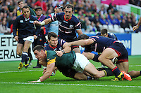Jesse Kriel of South Africa reaches for the try-line. Rugby World Cup Pool B match between South Africa and the USA on October 7, 2015 at The Stadium, Queen Elizabeth Olympic Park in London, England. Photo by: Patrick Khachfe / Onside Images
