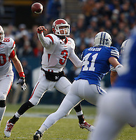 Utah quarterback Jordan Wynn (3) throws the ball downfield as Brigham Young University plays against Utah at LaVell Edwards Stadium in Provo, Utah, Saturday, Nov. 28, 2009. August Miller, Deseret News .