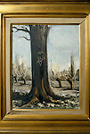 Bernard Buffet French artist expressionist painter (1928-1999) France Circa 1995. Interior home in Tourtour Provence France.  PAINTING OF TREE INSCRIBED WITH LOVE HEART & INITIALS 'AB & BB, 1976', AB = Annabel Schwob 1994.