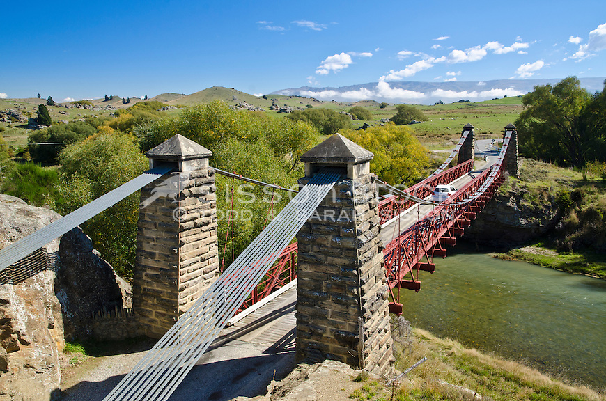 Looking across the Ophir Bridge on a sunny day, Central Otago, South Island, New Zealand