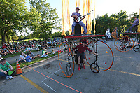 NWA Democrat-Gazette/J.T. WAMPLER Cycle Sonic performs their original chamber rock music  on human-powered stages during Artosphere: Arkansas' Arts and Nature Festival   Sunday May 14, 2017 at Walker Park in Fayetteville. The festival is sponsored by the Walton Arts Center and continues through May 20. For more information go to waltonartscenter.org/artosphere/