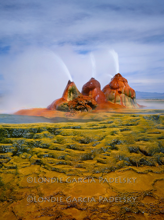 Fly Geysers, Black Rock Desert, Nevada.Mineral pools and hot spouting water