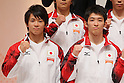 (L to R) Yusuke Tanaka (JPN), Kazuhito Tanaka (JPN), September 12, 2011 - Artistic Gymnastics : Kohei Uchimura attend press conference in Tokyo, Japan, regarding the Artistic Gymnastics World Championships 2011 Tokyo. (Photo by Yusuke Nakanishi/AFLO SPORT) [1090]