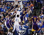 UK forward Nerlens Noel blocks a shot by LSU forward Shavon Coleman during the second half of the men's basketball game vs. LSU at Rupp Arena, in Lexington, Ky., on Saturday, January 26, 2013. Photo by Genevieve Adams  | Staff.