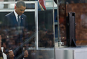 United States President Barack Obama attends the Commemoration Ceremony at the National September 11 Memorial at the World Trade Center Site in New York, New York on September 11, 2011.  The President and First Lady are also visiting the Pentagon and the crash site of Flight 93 in Shanksville Pennsylvania in a series of events to commemorate the 10th anniversary of the attacks. .Credit: Kristoffer Tripplaar / Pool via CNP