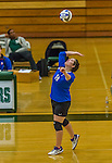1 November 2015: Yeshiva University Maccabee Middle Blocker Marissa Almoslino, a Junior from Seattle, WA, hits against the SUNY College at Old Westbury Panthers at SUNY Old Westbury in Old Westbury, NY. The Panthers edged out the Maccabees 3-2 in NCAA women's volleyball, Skyline Conference play. Mandatory Credit: Ed Wolfstein Photo *** RAW (NEF) Image File Available ***