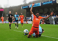 Blackpool's Jamille Matt is fouled by Wycombe Wanderers' Max Muller, resulting in a penalty<br /> <br /> Photographer Kevin Barnes/CameraSport<br /> <br /> The EFL Sky Bet League Two - Wycombe Wanderers v Blackpool - Saturday 11th March 2017 - Adams Park - Wycombe<br /> <br /> World Copyright &copy; 2017 CameraSport. All rights reserved. 43 Linden Ave. Countesthorpe. Leicester. England. LE8 5PG - Tel: +44 (0) 116 277 4147 - admin@camerasport.com - www.camerasport.com