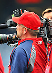 29 May 2011: Washington Nationals outfielder Matt Stairs tries out a video camera during batting practice prior to a game against the San Diego Padres at Nationals Park in Washington, District of Columbia. The Padres defeated the Nationals 5-4 to take the rubber match of their 3-game series. Mandatory Credit: Ed Wolfstein Photo