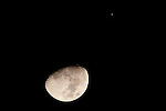 The moon meets Jupiter on January 21, 2013, as seen from Washington, DC.