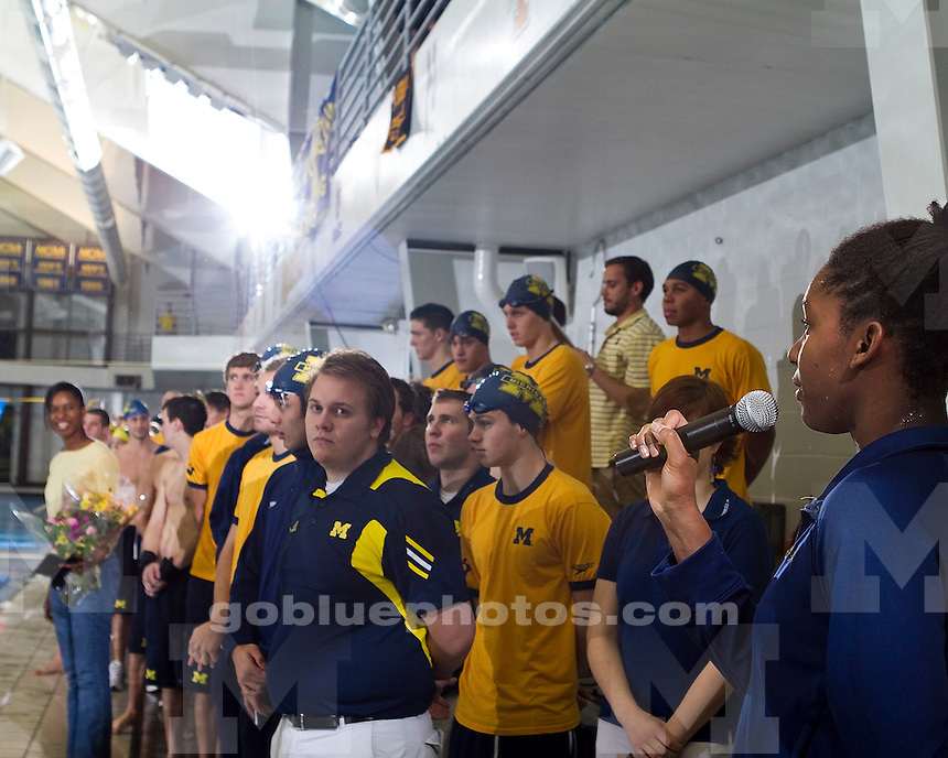 University of Michigan men's swimming and diving celebrates Senior Day by sweeping the Big Ten Quad meet at Canham Natatorium in Ann Arbor, MI, January 29, 2011 with victories over #11 Ohio State (187-141), Northwestern (272.5-61.5) and Penn State (262-72).