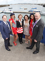 ****NO FEE PIC****.(L to r).Peter Ryan from the National Yacht Club.French Mademoiselle Suzanne McCabe .Her Excellency Emmanuelle D'Achon French Ambassador to Ireland.An Cathaoirleach of DLR, Cllr. Lettie McCarthy.French Mademoiselle Sinead Noonan .CEO Dun Laoghaire Harbour Gerry Dunne.at the National Yacht Club Dun Laoghaire to launch Festival Des Bateaux which takes place between August 11th and 14th 2011 .Dun Laoghaire will be the only international stop on the world famous French Solitaire du Figaro yacht race.  To celebrate the stopover of this iconic 3,390 km race, Dun Laoghaire Rathdown County Council, the Dun Laoghaire Harbour Company and the National Yacht Club have joined forces to create Festival des Bateaux.  The harbour will be a magnificent tapestry of colour as the boats arrive for this international event.  Dun Laoghaire will be resplendent with fireworks, music and the sights, sounds, foods, and 'joie de vivre' of France..Photo: Gareth Chaney Collins