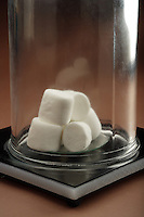 BOYLE'S MARSHMALLOWS<br /> The Inverse Relationship of Pressure &amp; Volume<br /> (3 of 3)<br /> The chamber is then evacuated resulting in a dramatic reduction of volume because the expanded marshmallows cannot stand up to the sudden increase in pressure.