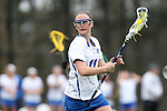 22 February 2015: Duke's Erin Tenneson. The Duke University Blue Devils hosted the College of William & Mary Tribe on the West Turf Field at the Duke Athletic Field Complex in Durham, North Carolina in a 2015 NCAA Division I Women's Lacrosse match. Duke won the game 17-7.