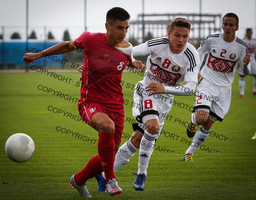 Fudbal Soccer<br /> International Friendly-Prijateljski mec<br /> Srbija U17 v Belorusiaj U17<br /> Zeljko Gavric (L) and Aliaksandr Nemirko<br /> Stara Pazova, 20.09.2016<br /> foto: Srdjan Stevanovic/Starsportphoto &copy;