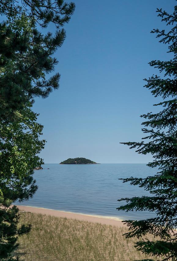 Little Presque Isle beach area on Lake Superior near Marquette, Michigan.