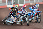 Heat 10: Nieminen (blue), Richardson (red) and Screen - Lakeside Hammers vs Wolverhampton Wolves - Sky Sports Elite League Speedway at Arena Essex Raceway, Purfleet - 24/05/10 - MANDATORY CREDIT: Gavin Ellis/TGSPHOTO - Self billing applies where appropriate - Tel: 0845 094 6026