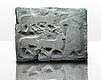 Picture & image of a Neo-Hittite orthostat showing Sacrificial animals being led from Alacahöyük, Alaca Çorum Province, Turkey. Ancora Archaeological Museum. Old Bronze age Chalcolithic Period. 2