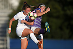 11 September 2016: Duke's Kat McDonald (left) and High Point's Becca Rolfe (right) challenge for the ball. The Duke University Blue Devils hosted the High Point University Panthers at Koskinen Stadium in Durham, North Carolina in a 2016 NCAA Division I Women's Soccer match. Duke won the match 4-1.