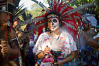 "El Museo del Barrio Day of the Dead procession travels through Central Park on Saturday, October 15, 2011. The procession kicks off the ""Super Sabado"" activities at the museum, a free Saturday sponsored by Target stores. (© Frances M. Roberts)"