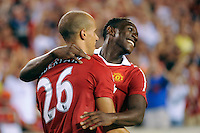 Gabriel Obertan (26) of Manchester United celebrates scoring the game's only goal with Danny Welbeck (19). Manchester United (EPL) defeated the Philadelphia Union (MLS) 1-0 during an international friendly at Lincoln Financial Field in Philadelphia, PA, on July 21, 2010.