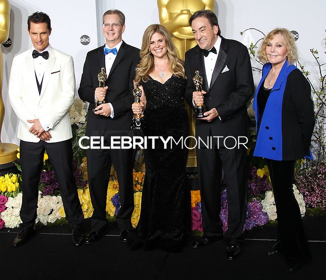 HOLLYWOOD, LOS ANGELES, CA, USA - MARCH 02: Matthew McConaughey, Chris Buck, Jennifer Lee, Peter Del Vecho, Kim Novak at the 86th Annual Academy Awards - Press Room held at Dolby Theatre on March 2, 2014 in Hollywood, Los Angeles, California, United States. (Photo by Xavier Collin/Celebrity Monitor)