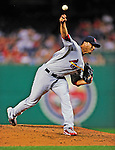 28 August 2010: St. Louis Cardinals pitcher Fernando Salas in action against the Washington Nationals at Nationals Park in Washington, DC. The Nationals defeated the Cards 14-5 to take the third game of their 4-game series. Mandatory Credit: Ed Wolfstein Photo
