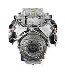 Cadillac 556HP 6.2L V8 car engine from the clutch side isolated on white background with clipping path