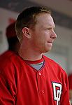 21 May 2006: Robert Fick, catcher for the Washington Nationals, in the dugout during a game against the Baltimore Orioles at RFK Stadium in Washington, DC. The Nationals defeated the Orioles 3-1 to take 2 of 3 games in their first inter-league series...Mandatory Photo Credit: Ed Wolfstein Photo..