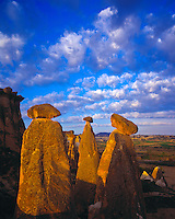The Fairy Chimneys, Goreme National Park, Turkey   Rock forms and morning clouds  Cappadocia Region    UNESCO World Heritage Site