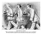 """Legislation by Pyjama. There are others besides the landowners of the country who are made to """"sit up"""" by the Budget. (Mr. Winston Churchill was supposed to have been discovered on the Treasury Bench in pink pyjamas.) (an Edwardian cartoon shows Liberal British Prime Minister Herbert Henry Asquith leading Lloyd George carrying his Budget Box and Winston Churchill all in their pyjamas and carrying candles)"""
