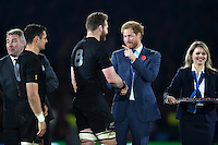 Kieran Read of New Zealand and Prince Harry share a joke after the match. Rugby World Cup Final between New Zealand and Australia on October 31, 2015 at Twickenham Stadium in London, England. Photo by: Patrick Khachfe / Onside Images