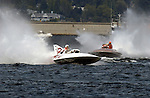 Hydros-PROP Seafair, Lake Washington, Seattle, Washington, USA 4 August,2002 The vintage hydrplanes Miss Burien (L) and Miss Budweiser put on a display at Seafair..Copyright&copy;F.Peirce Williams 2002..F. Peirce Williams.photography.P.O. Box 455 Eaton, OH 45320 USA.317.358.7326  fpwp@mac.com