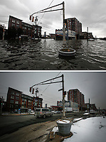TOP a flooded street during the Huricane Sandy on Oct 30,2012. Mar 03,2015. BELOW general view of a street in Hoboken on March 03,2015. Kena Betancur/VIEWpress.