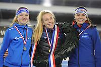 SCHAATSEN: HEERENVEEN: 03-02-2017, KPN NK Junioren, Podium Junioren C Dames, Myrthe de Boer, Debby Behr, Leonie Bats, ©foto Martin de Jong