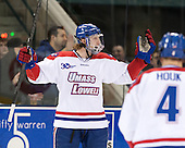 A.J. White (UML - 18) - The University of Massachusetts Lowell River Hawks defeated the visiting American International College Yellow Jackets 6-1 on Tuesday, December 3, 2013, at Tsongas Arena in Lowell, Massachusetts.