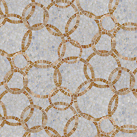 Des Cerceaux, a hand cut natural stone mosaic, is shown in Celeste and Breccia Oniciata (p).