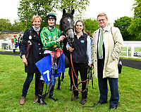 Connection of White Chocolate plus jockey Daniel Muscutt  in the winners enclosure during Afternoon Racing at Salisbury Racecourse on 18th May 2017